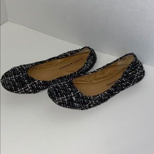 Lucky Brand black, white textured flats 6M/36